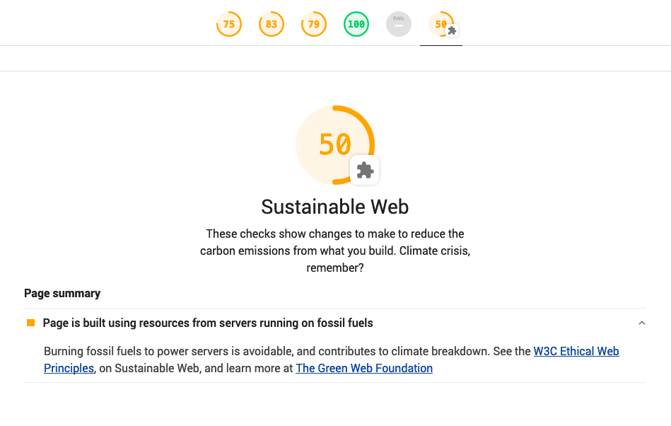 Greenhouse- showing a report outlining how many domains are green on a page