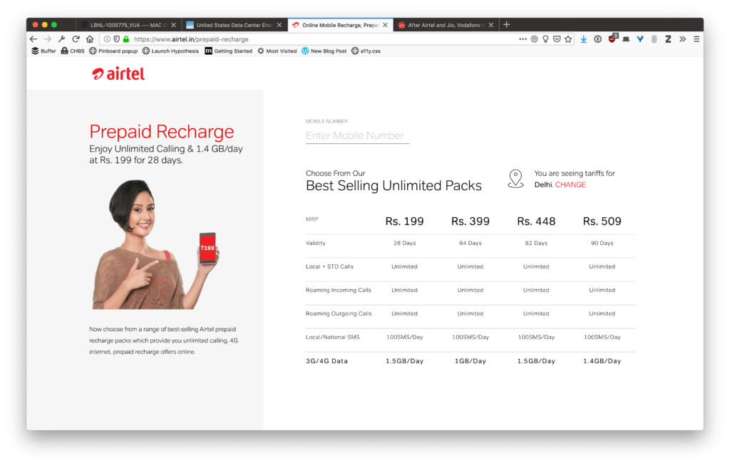 An pricing table, showing Airtel's a data plans. They're a lot more generous than Europe!