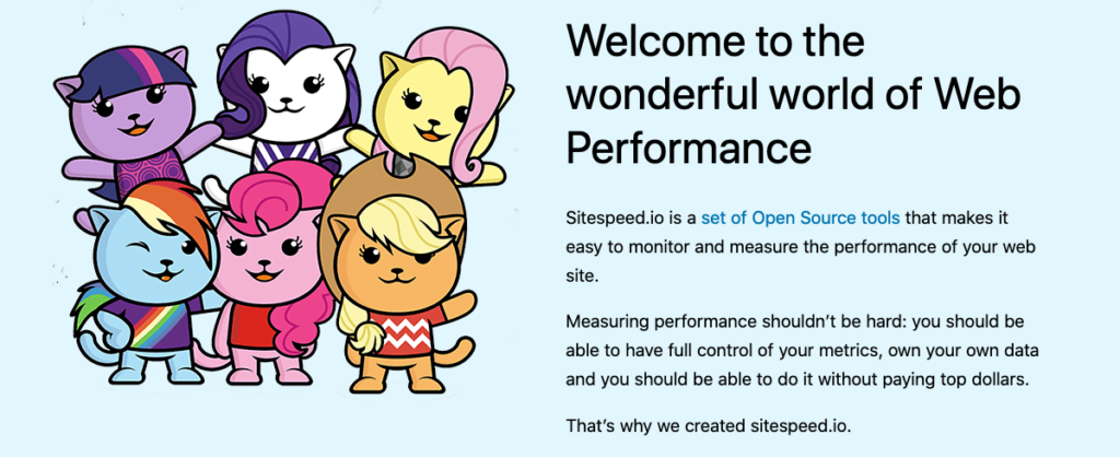 Screenshot of the front page of sitespeed, showing the cute cats and explaining what it is
