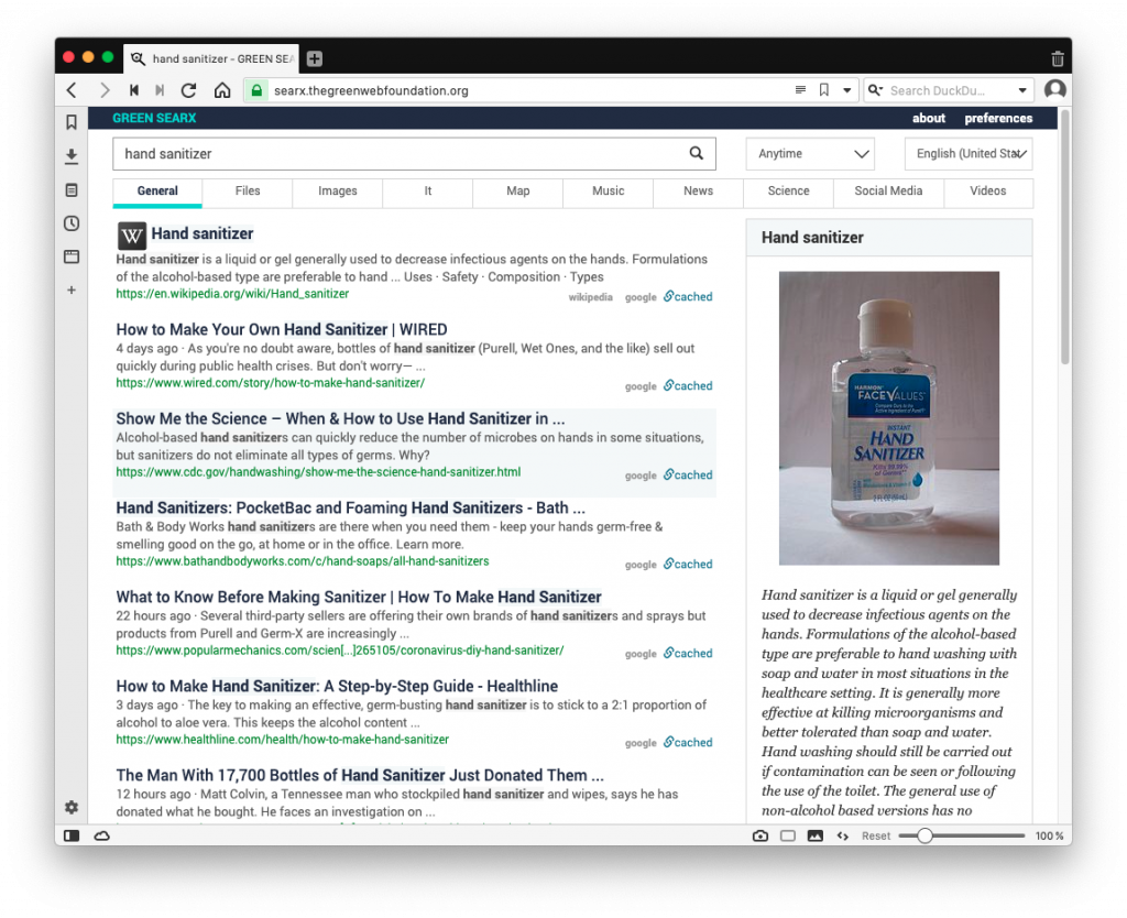 Searx results for hand sanitizer, showing information from wikipeda and other sources