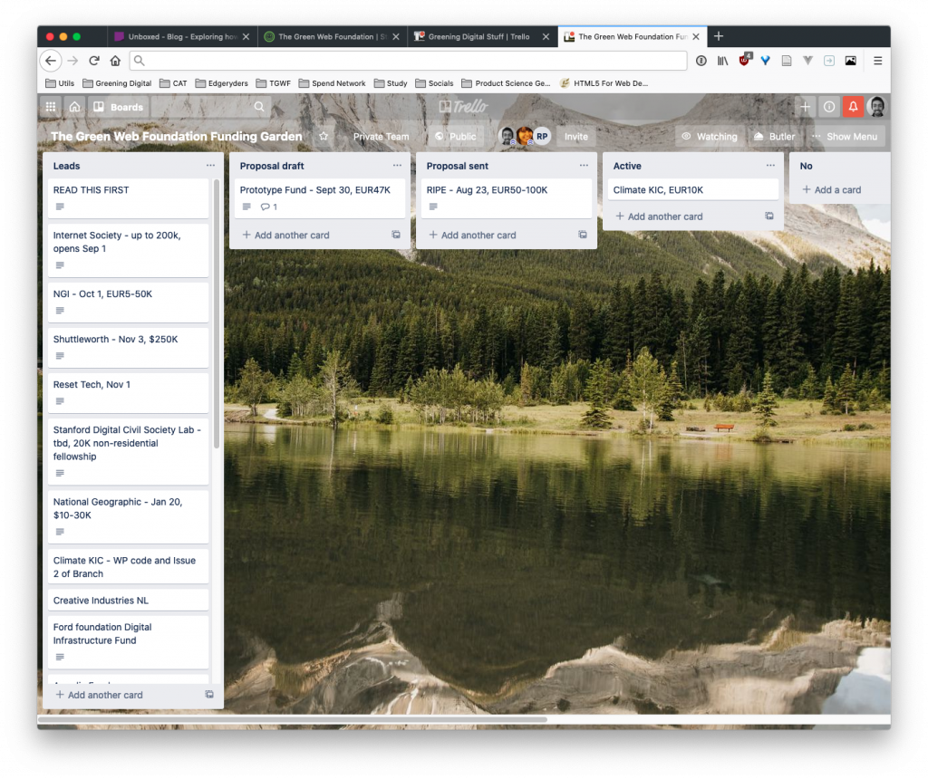 A screenshot of our trello board. Funding opportunities are represented as cards , with stages from 'leads', to 'proposal draft' to 'proposal sent'.