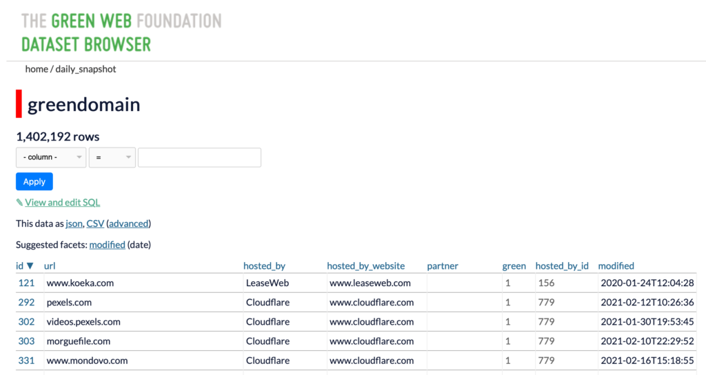 A screenshot of the dataset browser