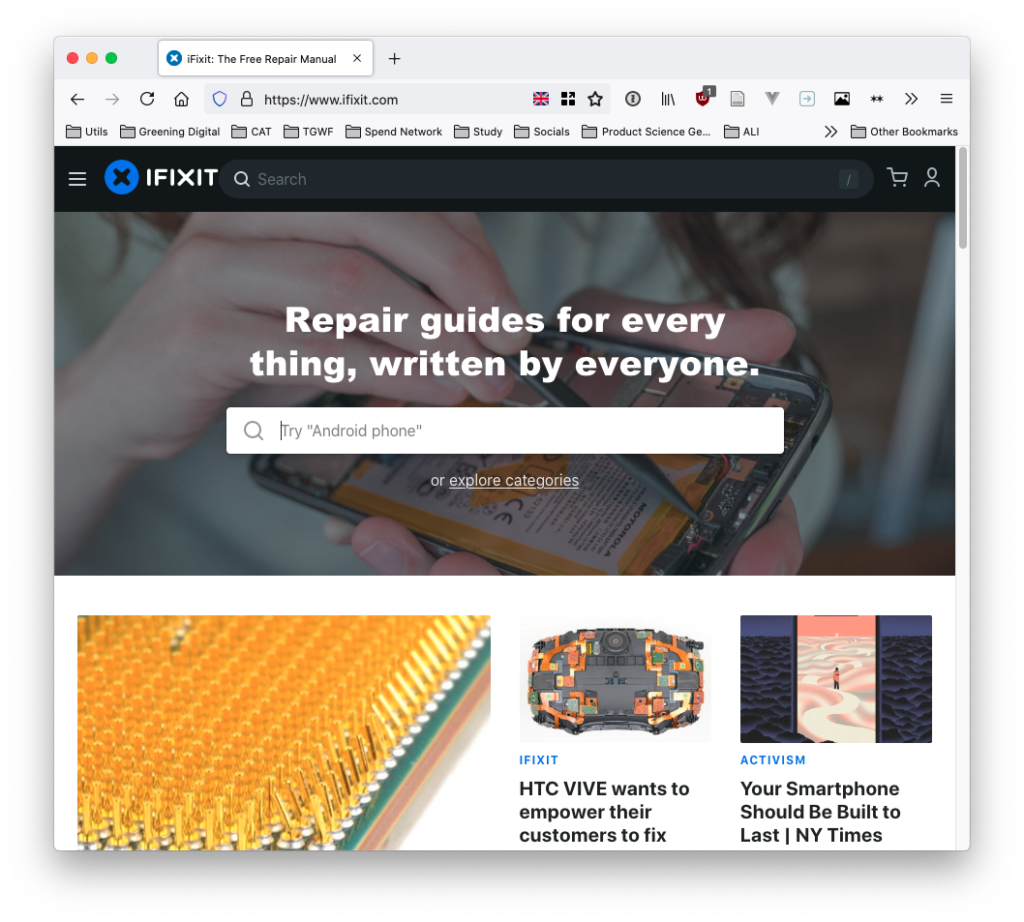 """Screenshot of the ifixit website - with a search box, and """"repair guides for everything, written by everyone"""""""